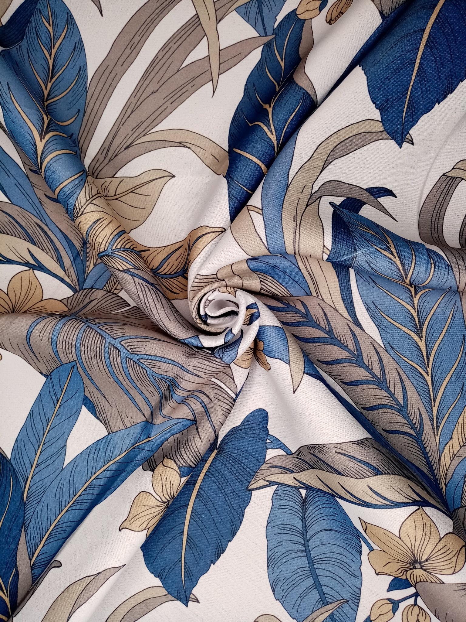 Димаут рогожка двухсторонний Тропики синий