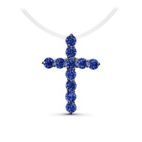 Крест с синими цирконами на леске-невидимке с серебряными замочками (средний)