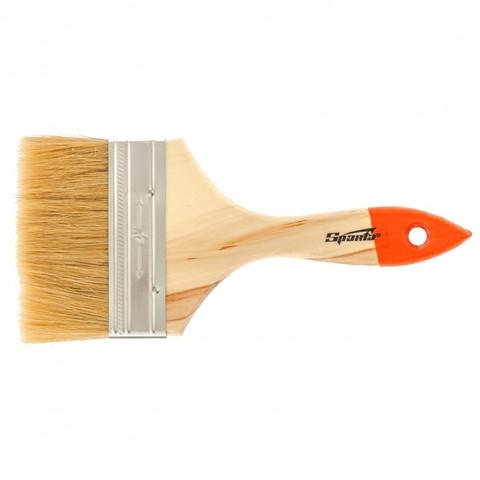 Кисть плоская SlimLine 4, натуральная щетина, деревянная ручка Sparta