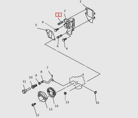 Болт шпилька для лодочного мотора T9.8 Sea-PRO (4-3)