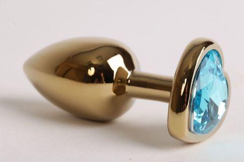 Золотистая анальная пробка с голубым стразиком-сердечком - 7,5 см.