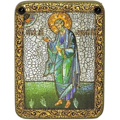Инкрустированная икона Святой апостол Андрей Первозванный 20х15см на натуральном дереве в подарочной коробке