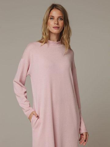 Женское розовое платье с разрезами из шерсти и кашемира - фото 2