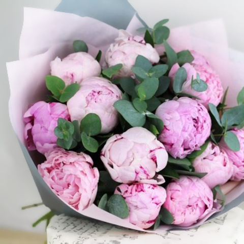 Пионы розовые Sarah Bernhardt с зеленью от 3шт