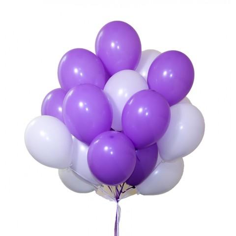 Воздушные шары с гелием Бело-сиреневые
