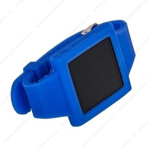 Сменный ремешок силиконовый для Apple iPod nano 6 браслет с металлической застежкой синий