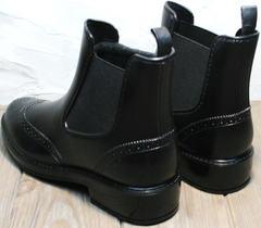 Резиновые сапоги с носком женские короткие W9072Black.