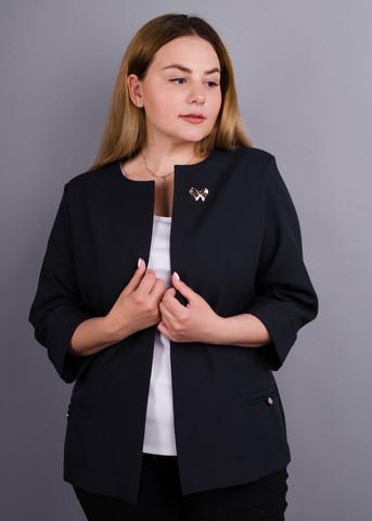Омега. Женский офисный жакет больших размеров. Черный.