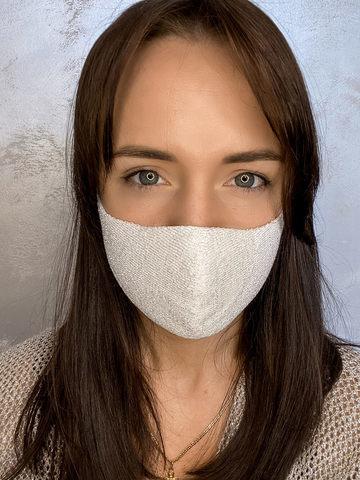 Женская гигиеническая трикотажная маска светло-серого цвета - фото 2