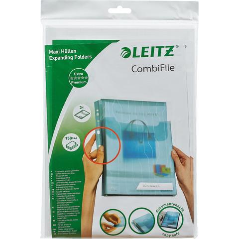 Файл-вкладыш с расширением и клапаном Leitz А4 прозрачный гладкий 3 штуки в упаковке