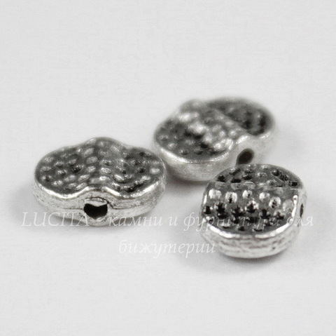 "Бусина металлическая ""Дабл"" 7х5 мм (цвет - античное серебро), 10 штук"