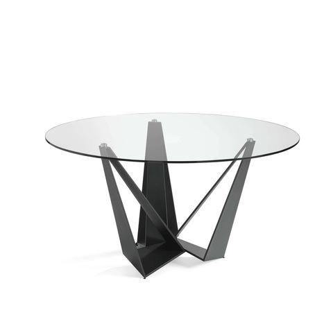 Стеклянный круглый стол c черными ножками CT2061