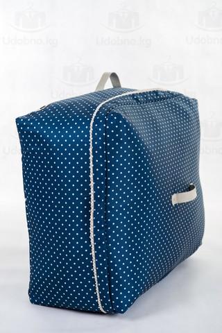 Мягкий супербольшой кофр для объемных вещей, XXL, 63*48*32 см (темно-синий в горошек)