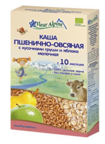 Каша Fleur Alpine Organic молочная пшенично-овсяная с грушей и яблоком (10+ мес.)