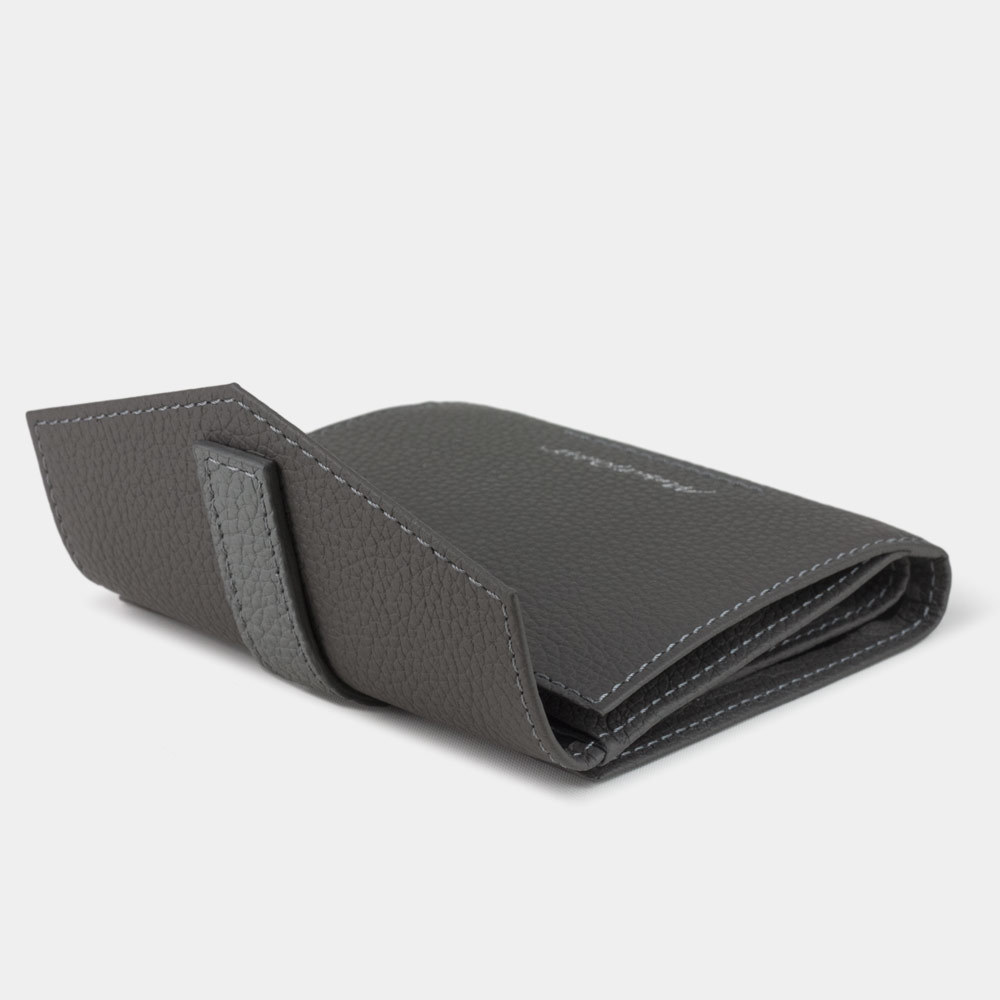 Мини-кошелек Tresor Bicolor из натуральной кожи теленка, серого цвета