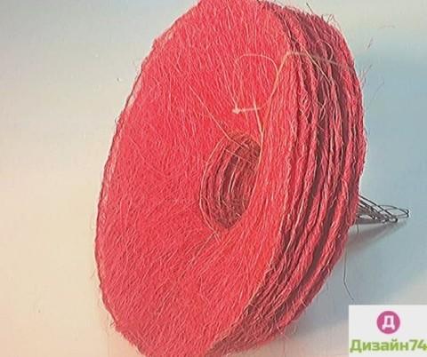 Каркас сизаль круглый (d=30 см.) Красный цвет 1шт.