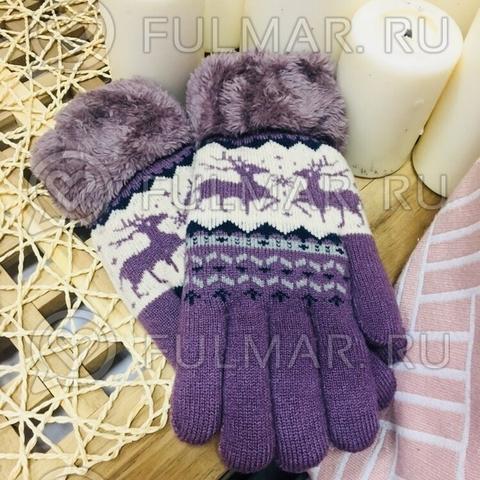 Перчатки с оленями шерстяные (Цвет: лиловый)