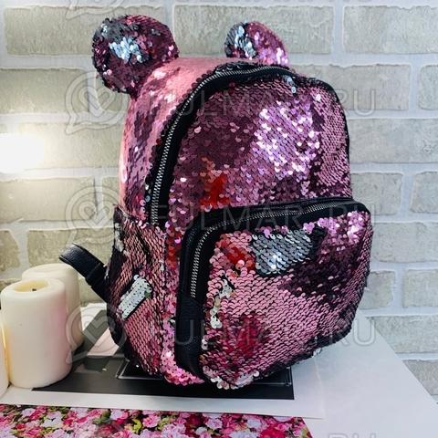 Рюкзак с круглыми ушками «Минни» меняют цвет пайетки Розовый-Серебристый