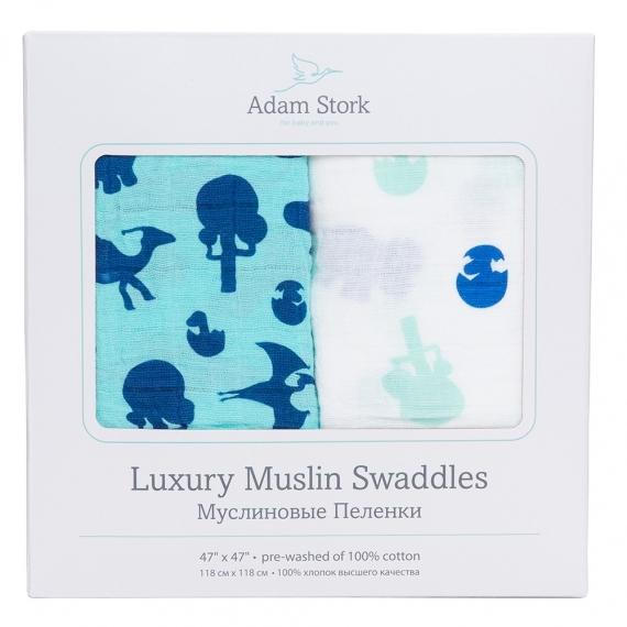 Муслиновые пеленки 2 шт. Adam Stork Dino World