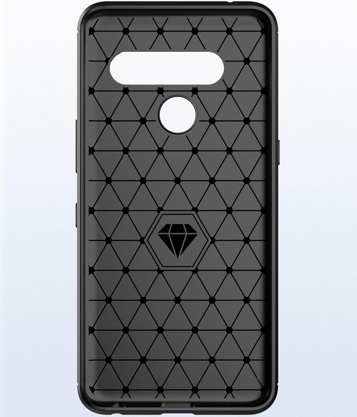 Чехол LG V50 ThinQ цвет Black (черный), серия Carbon, Caseport