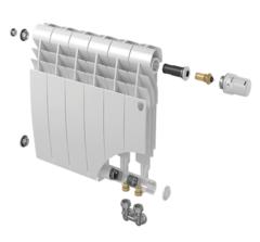 Биметаллический радиатор с правым нижним подключением Royal Thermo Biliner 500 V Bianco Traffico (белый)- 6 секций