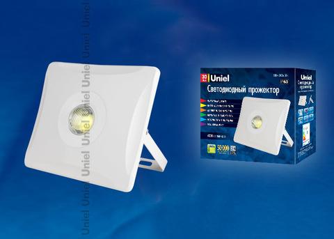 ULF-F11-30W/NW IP65 180-240В WHITE Прожектор светодиодный. Корпус белый. Белый свет. Упаковка картон. TM Uniel.