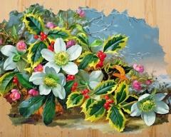 Морозный букет-картина по номерам на дереве, DER006