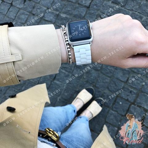 Ремешок Apple watch 42/44mm Ceramic 3-bead /white/