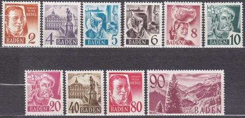 Германия Баден 1948 № 28-37 **MNH