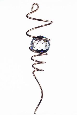 Спиральный хвостик медный с кристаллом (Iron Stop)