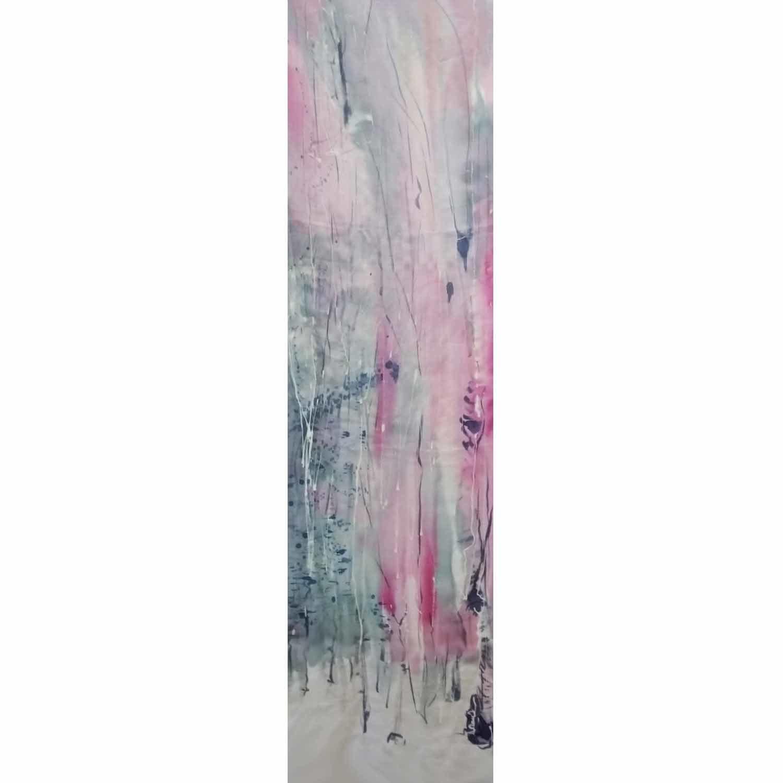 Шелковый шарф батик Розовый лес