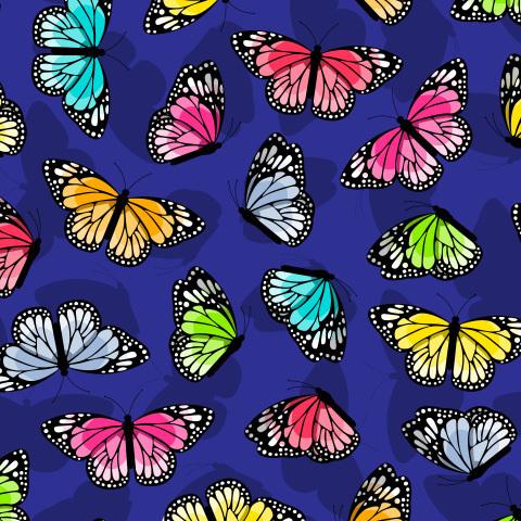 Яркие разноцветные бабочки на синем