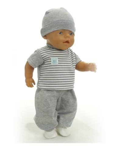 Большой подарочный комплект - зимний медведь - На кукле футболка и брюки. Одежда для кукол, пупсов и мягких игрушек.