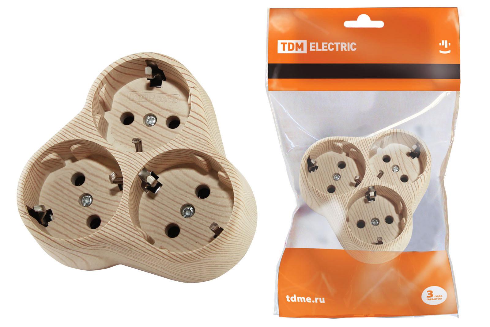 Блок на 3 гнезда 2П+З круглый 16А 250B Эко