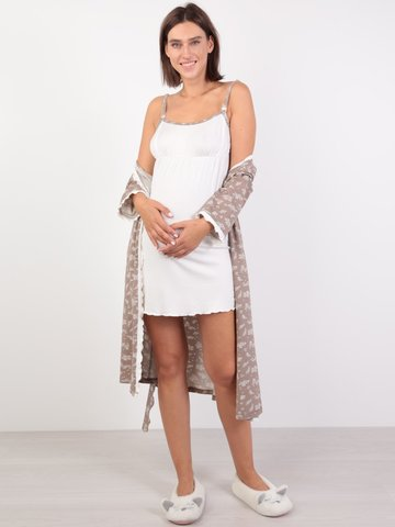 Euromama/Евромама. Комплект халат и сорочка с лифом-корзинкой, капучино