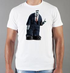 Футболка с принтом мультфильма Монстры на каникулах ( Hotel Transylvania, Франкенштейн) белая 003
