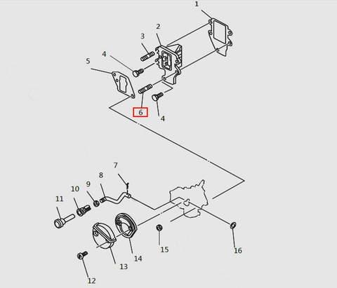 Болт шпилька для лодочного мотора T9.8 Sea-PRO (4-6)