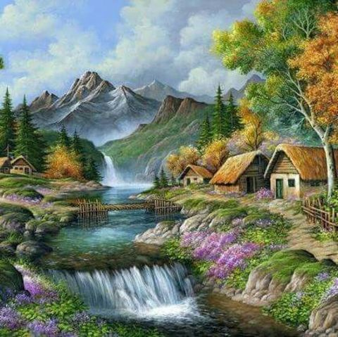 Картина раскраска по номерам 30x40 Пейзаж с водопадом