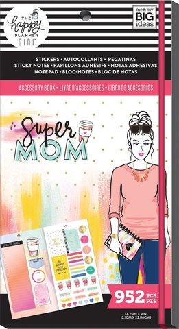 Блокнот со стикерами и стекерблоками Accessory Book - Super Mom -952 шт