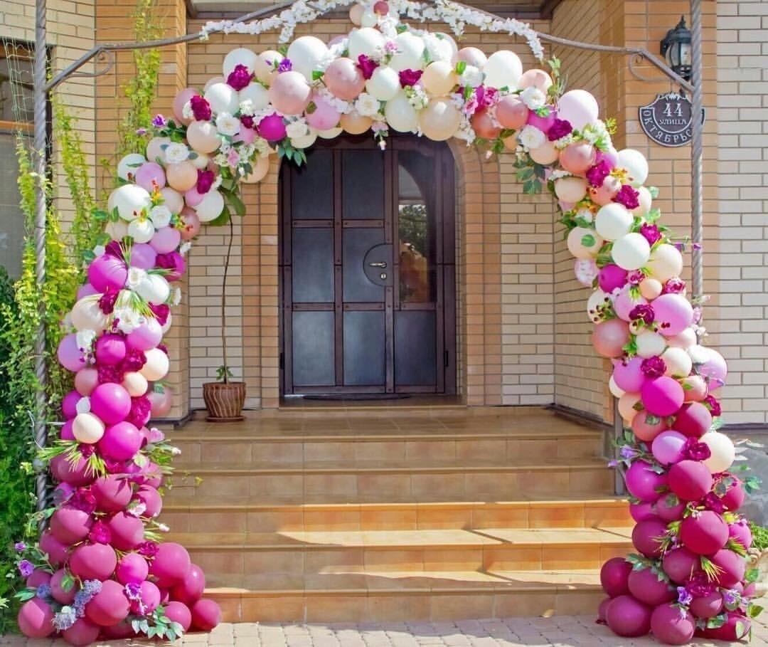 Арки из шаров на свадьбу Арка разнокалиберная Бело розовая 1307151279.jpg