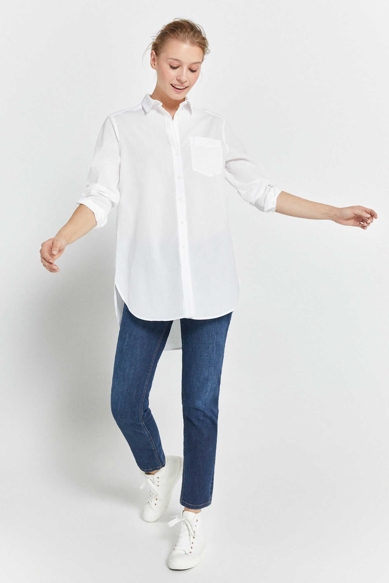 Подовжена поплінова сорочка