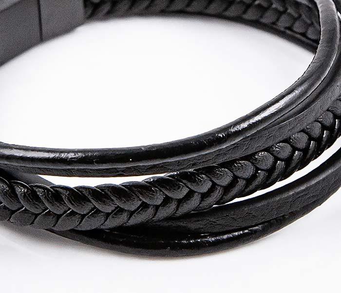 BM593 Мужской браслет из черных кожаных шнуров фото 05