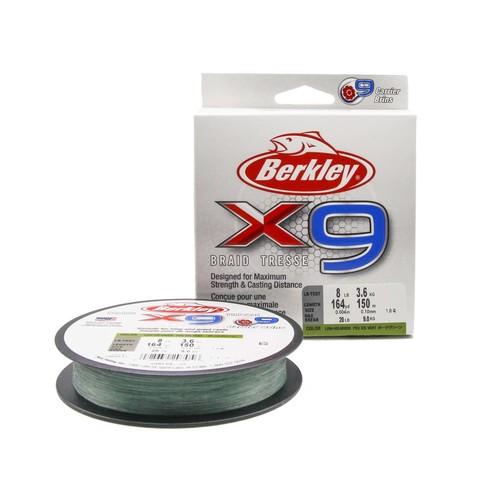 Плетеная леска Berkley X9 150м Темно-зеленая 0,10мм 3,6кг