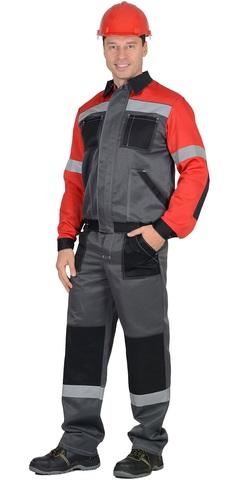 Костюм ИТР куртка, брюки Темно-серый с красным
