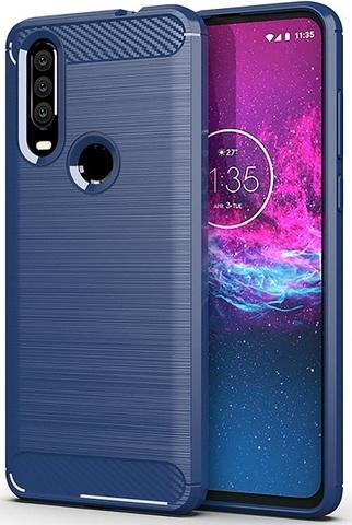 Чехол Motorola Moto One Action (P40 Power) цвет Blue (синий), серия Carbon, Caseport