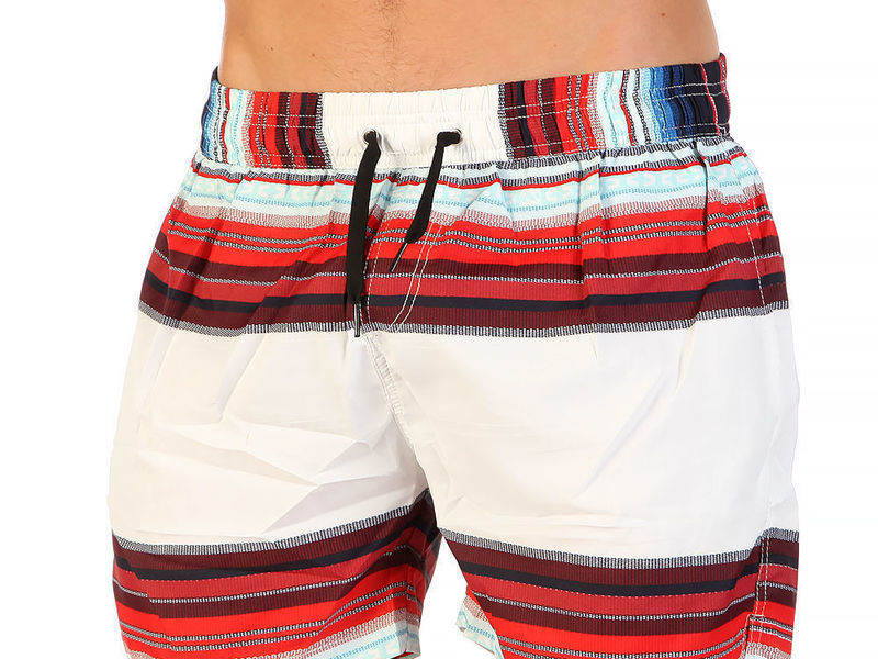Мужские шорты белые с красным принтом Super Dry