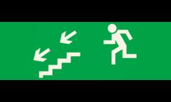Знак для табло направления движения – К ЭВАКУАЦИОННОМУ ВЫХОДУ ПО ЛЕСТНИЦЕ ВНИЗ НАЛЕВО