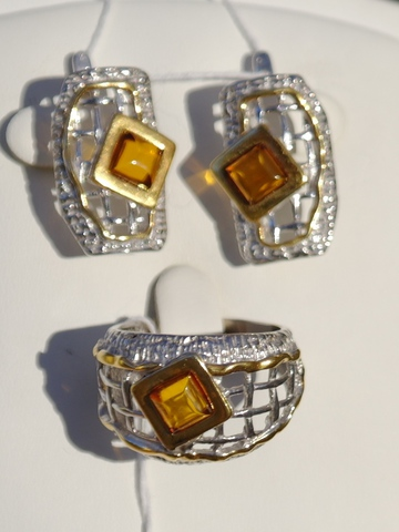 Грида  (кольцо + серьги из серебра)