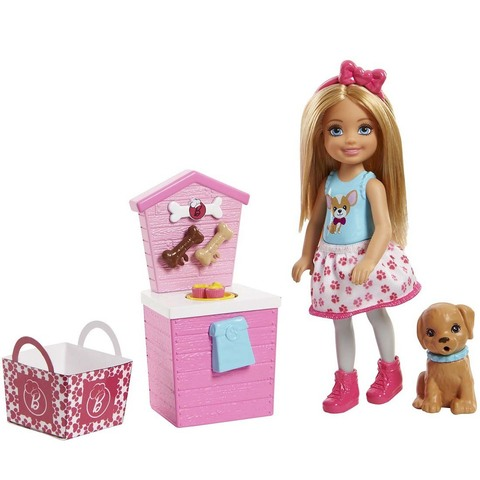 Барби Челси Блондинка с щенком и аксессуарами