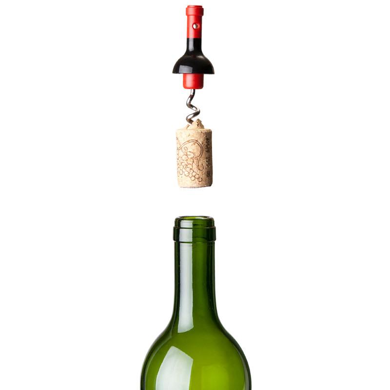 Штопор для бутылок черный Mini Vin Qualy QL10033 | Купить в Москве, СПб и с доставкой по всей России | Интернет магазин www.Kitchen-Devices.ru